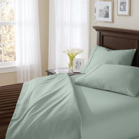 Better Homes and Gardens 400 Thread Count Solid Egyptian Cotton True Grip Bedding Sheet Set - King (Seaglass) from Better Homes & Gardens