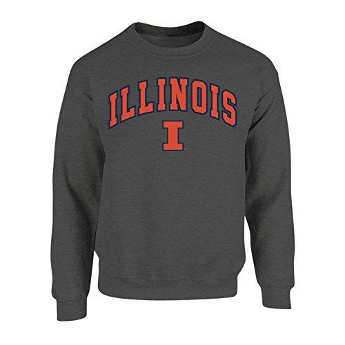 Illinois Fighting Illini Fleece (Illinois Fighting Illini Crewneck Sweatshirt Arch Charcoal - XXL)
