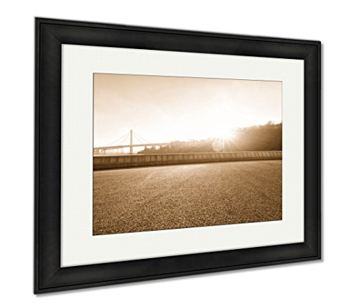 Ashley Framed Prints Road Near Golden Gate Bridge In San Francisco, Wall Art Home Decoration, Sepia, 26x30 (frame size), Black Frame, - Shops Jetty Road