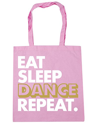 HippoWarehouse Eat Sleep Dance Repeat Tote Shopping Gym Beach Bag 42cm x38cm, 10 litres Classic Pink