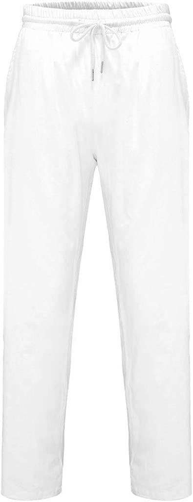 Armfre Bottom Mens Cotton Pajama Pants Solid Elastic Waisted Lightweight Lounge Pant Drawstring Loose Fit Sweatpants Casual Yoga Gym Fitness Trouser Sleepwear