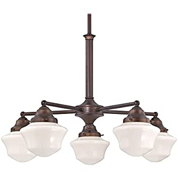Schoolhouse Chandelier with Five Lights in Bronze Finish ...