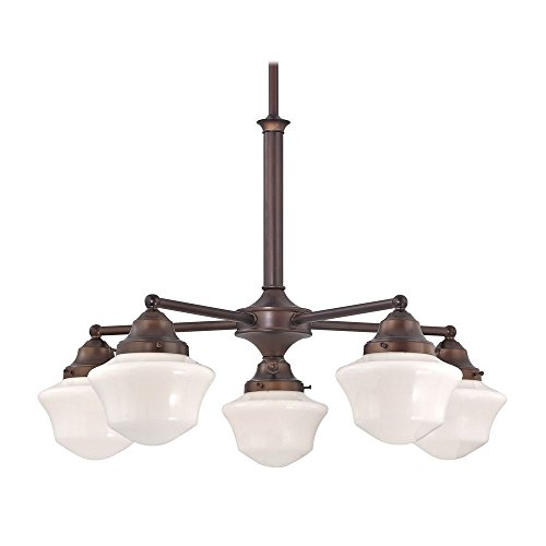 - Schoolhouse Chandelier with Five Lights in Bronze Finish