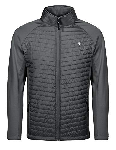 Little Donkey Andy Men's Insulated Running Warm Jacket, Thermal Hybrid Hiking Jacket, Lightweight Breathable Gray Size XL