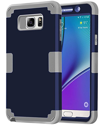 Galaxy Note 5 Case,BENTOBEN 3 in 1 Hybrid Case for Galaxy Note 5 Case Shockproof Hard Cover PC + Soft Silicone Interior Scratch Protective Combo Cases Covers for Samsung Galaxy Note 5 (2015) Navy Blue