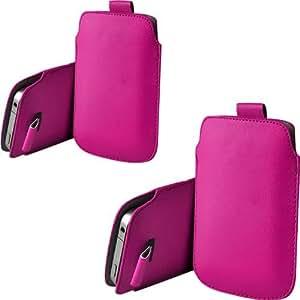ONX3 Twin Pack Nokia 220 PU de cuero protector Tab Pouch Funda Piel extracción (Hot Pink)