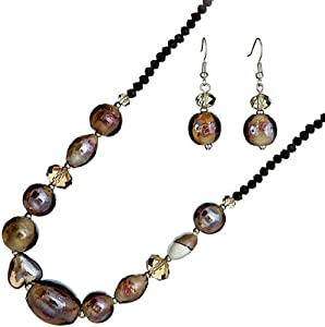 Ace Of Diamonds Madeline Italian Murano Glass and Austrian Crystal 18 Inch with 3 Inch Extension Necklace and Earrings Set