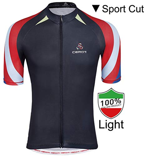 Ceroti   Custom Apparel Service   【PRO Level】 Men's Cool Summer Cycling Jersey, Wicking Bike Jersey with Italian PRO Fabric, Bicycle Shirt with 3 Rear Pockets, High Breathable & Fast Dry