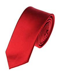 Modern Trendy Slim Polyester Men's Neckties Solid Neck Tie 22 Colors (Red)
