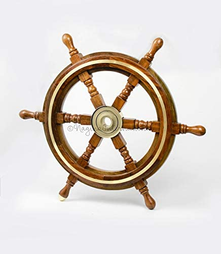 Nagina International Wooden Nautical Captain s Steering Ship Wheel with Brass Ring Hub – Pirate Home Ocean Beach Decor Gift – Nursery Wall Hangings 18 Inches
