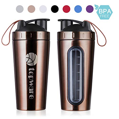 TOPWARE 28oz Stainless Steel Classic Protein Mixer Shaker Bottle Dishwasher Safe BPA Free Leak Proof Mixing Shaker Cup Large Portable Loop for Sports Fitness Gym Workout Nutrition Supplements Powder