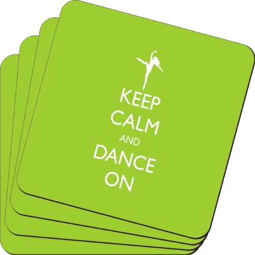 Rikki Knight Keep Calm and Dance on Lime Green Color Design Soft Square Beer Coasters (Set of 2), Multicolor