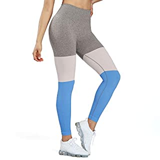 Aoxojox Women's Leggings High Waist Gym Yoga Workout Trinity Seamless Leggings (Sky Blue, Small)