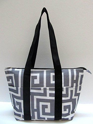 Lunch Bag Insulated Tote Bag (Greek Key Gray & White)