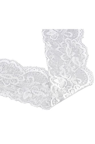 HOUSWEETY 10 Yards White Stretch Floral Scallop Lace Edge Trim 3-1/8 wide