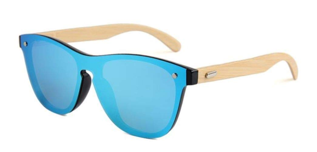 Earth Accessories Bamboo Sunglasses with One Piece Reflective Mirror Lens for Men or Women