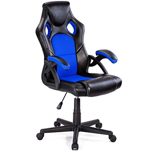 - Giantex Executive Racing Office Gaming Chair Ergonomic Leather Style Bucket Seat Computer Desk Task Reclining Gaming Chair (Blue)