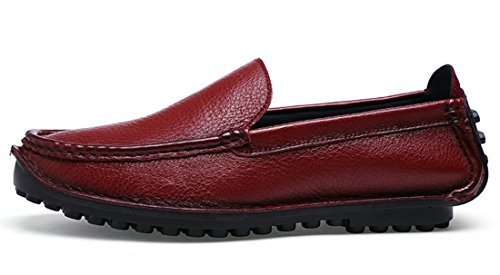 TDA Mens Comfortable Slip-on Leather Stitching Driving Walking Loafers Boat Shoes Wine Red EcYoMnocX