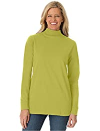 Women's Plus Size Top, Perfect Cotton Mockneck With Long...