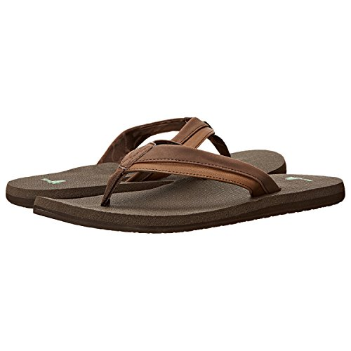 Sanuk Men's Beer Cozy Light Flip Flop, Dark Brown, 14 M US