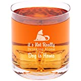 It's not drinking alone if the dog's home - Funny Novelty Whisky on the Rocks Glass with Coaster and Gift Box - 11 oz - Present for Dad Boyfriend Husband Friend Men Birthday Fathers Day Christmas