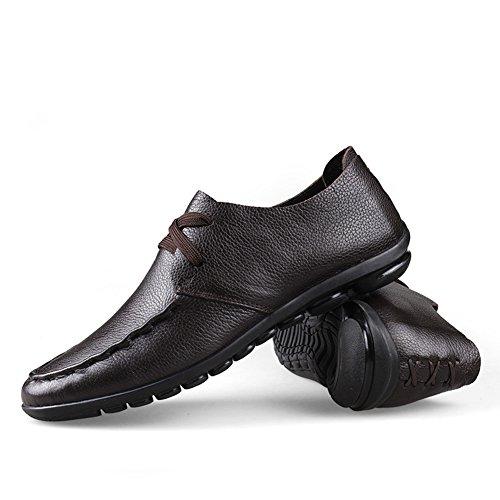 Zapatillas Loafers de Conducción Marrón Slip de Zapatos Mocasines Casual Cuero On Stutio Plano Hombre SK wxA4qZRpA