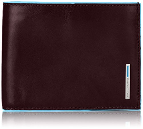 Piquadro Leather Man's Wallet with Coin Case and Document Holder, Mahogany, One Size by Piquadro