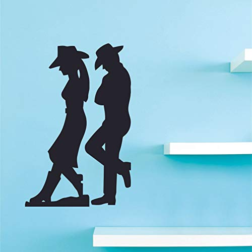 (Cowboy Cowgirl Silhouette Cowboy Boots Hat Country Wall Decals Designs Decor Stickers for Girls Boys Room Bedroom Garage House Fun Home Decor Stickers Wall Art Vinyl Decoration Size (20x18)