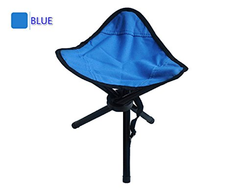 Collapsible Camping Stool Folding Portable Chair Tri-leg for Hiking Fishing and Camping (blue)