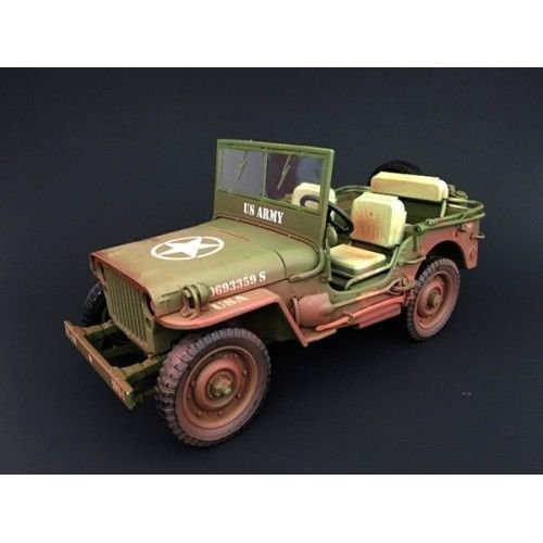 American Army Vehicles - Jeep US Army WWII Vehicle Green Weathered Version 1/18 by American Diorama 77404 A