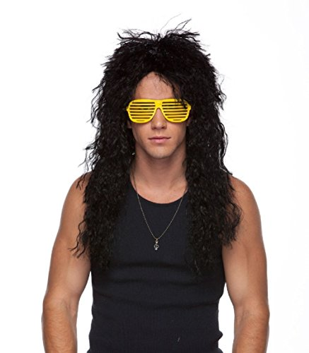 Heavy Metal 80's Hair Bands Black Curly Adult Costume Wig Rock Star - Plus Size Circus Themed Costumes