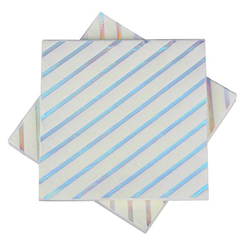 (Gold Foil Striped Napkins,Mettalic Silver Paper Napkins 6.5''50counts 2Ply, Perfect for Birthday,Wedding,Bachelorette Party,Babyshower,Bridalshower (Iridescent Foil Stripes, 6.5''x6.5''))