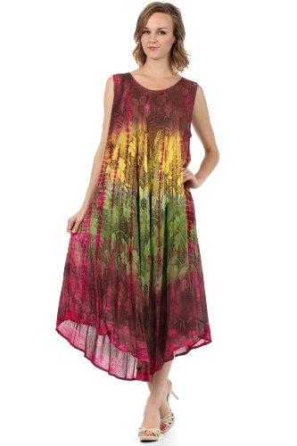 Sheath Fuchsia Ombre Floral Caftan Tie Dress Sakkas Dye Tank xRwaA1PqH