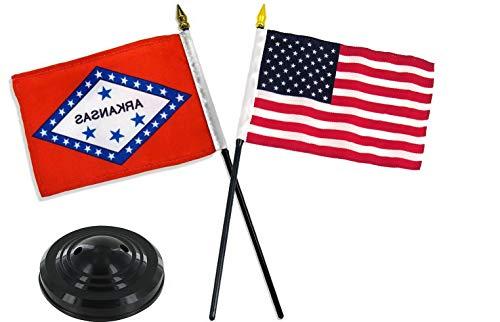 Hebel Arkansas State w/USA America American Flag 4x6 Desk Set Black Base   Model FLG - 1487