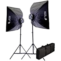 CowboyStudio 2000 Watt Photography and Digital Video Continuous Lighting Kit with Carrying Case - 2 light stands, 2 softboxes, 2 Light Heads, 10 photo bulbs