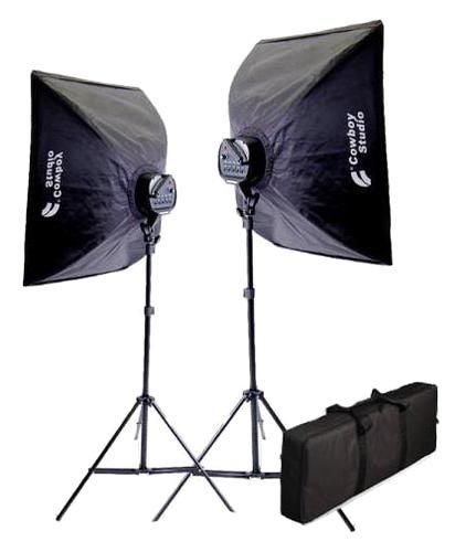CowboyStudio 2000 Watt Photography and Digital Video Continuous Lighting Kit with Carrying Case - 2 light stands, 2 softboxes, 2 Light Heads, 10 photo bulbs by CowboyStudio