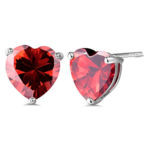 Heart Journey Ring (GULICX Royal Journey Jewelry Silver Tone Lovely heart Garnet Color Red Stud Earrings)