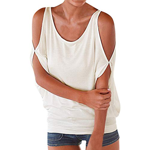 - Women's Summer Basic Criss Cross Round Neck Tee Tops Flared Casual Loose Short Sleeve T Shirt(White,M)