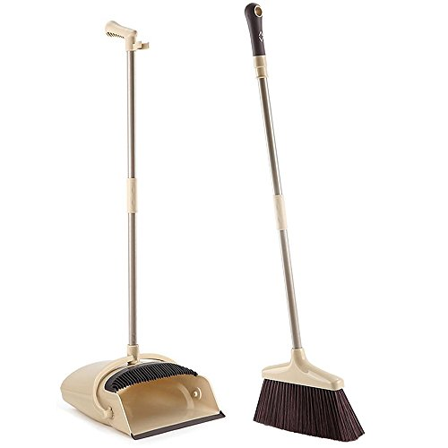 Floor Standing Parts (Broom and Dustpan with Long Handle Upright Sweep Set Indoor/Outdoor Lobby Kitchen Bathroom Use, Soft Bristles & Rubber Edge Dust Pan with Teeth - Great for Pet Dog Hair Hardwood Floor, Brown)