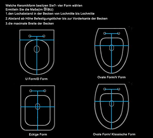 WOLTU WS2615 Copriwater in Duroplast Sedile Copri WC Chiusura Ammortizzata Soft Close Antibatterico Bianco