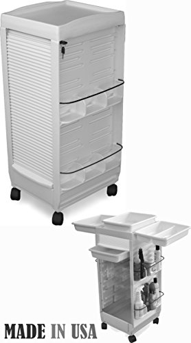 C185E Salon SPA Aesthetician Roll-about Lockable WHITE Cart Mini 30″ H Made in USA by Dina Meri