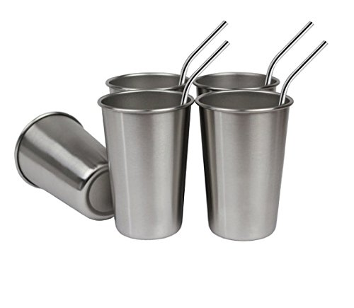 4 Tumbler 16 Oz Mugs - Bundle: Set of 5, 16 Oz Premium Stainless Steel Cups and FREE Straws, Eco-friendly BPA and Lead Free Cups Perfect for Camping Outdoors and Everyday Use Indoors. Includes Bonus Straw Cleaner