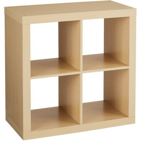 Better Homes And Gardens Bookshelf Square Storage Cabinet 4-Cube Organizer, Birch, Set Of 2 by Better Homes and Gardens