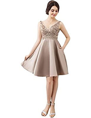 TrendProm Homecoming Dresses A line with Beading Knee Length Prom Dresses Short