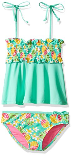 YMI Big Girls' Hawaiian Punk Two Piece Smocked Tankini Swimsuit, Mint Sorbet, 10/12