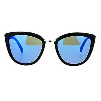 SA106 Womens Color Mirror Mirrored Lens Oversize Cat Eye Sunglasses Black Blue