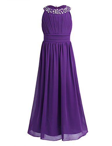 ranrann Kids Flower Girl Ruffle Round Neck Chiffon Long Dress Bridesmaid Wedding Pageant Formal Event Gown Purple 12]()