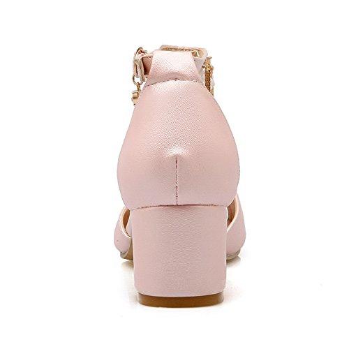 Allhqfashion Dames Pu Kitten Hakken Open Teen Solide Gesp Sandalen Roze