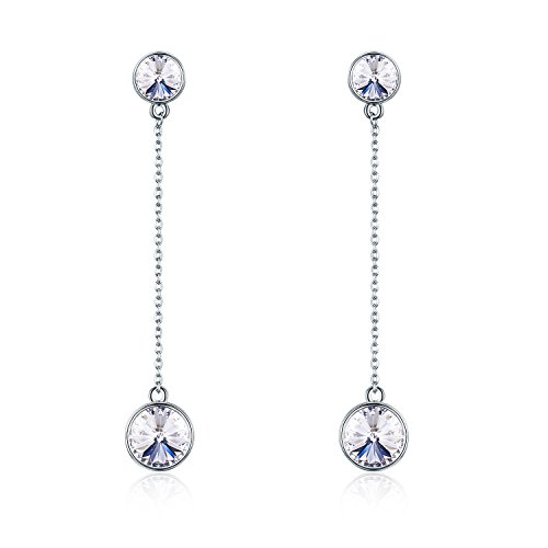 (SBLING Platinum-Plated Drop Earrings Made with Swarovski Crystals (4.25 cttw; White Clear)-Gifts for Women/Girls)