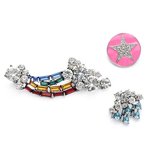 DELIANNA STYLES Crystal Brooches Pin Set Made of Swarovski Jewelry, Novelty Rainbow Pins Broaches 3-Pack